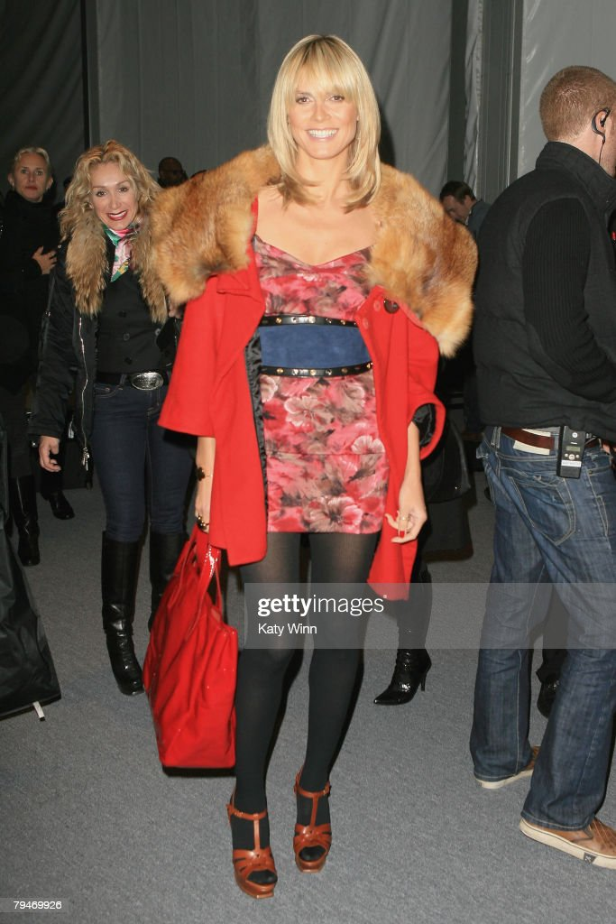 Model Heidi Klum poses at the fashion tents in Bryant Park during Mercedes-Benz Fashion Week Fall 2008 on February 1, 2008 in New York City.