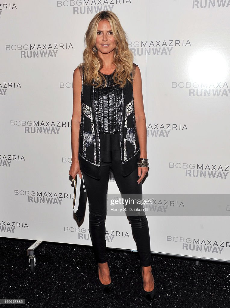 Model <a gi-track='captionPersonalityLinkClicked' href=/galleries/search?phrase=Heidi+Klum&family=editorial&specificpeople=178954 ng-click='$event.stopPropagation()'>Heidi Klum</a> poses backstage at the BCBGMAXAZRIA show during Spring 2014 Mercedes-Benz Fashion Week at The Theatre at Lincoln Center on September 5, 2013 in New York City.