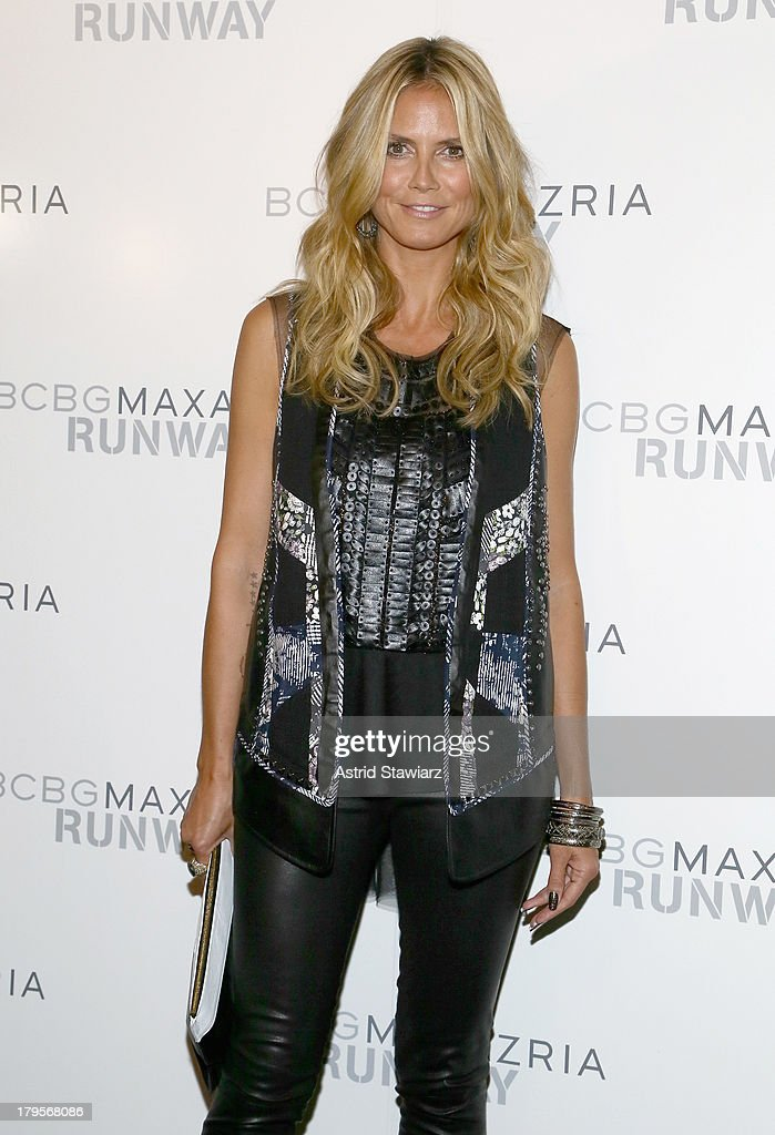 Model <a gi-track='captionPersonalityLinkClicked' href=/galleries/search?phrase=Heidi+Klum&family=editorial&specificpeople=178954 ng-click='$event.stopPropagation()'>Heidi Klum</a> poses backstage at the BCBGMAXAZRIA Spring 2014 fashion show during Mercedes-Benz Fashion Week at The Theatre at Lincoln Center on September 5, 2013 in New York City.
