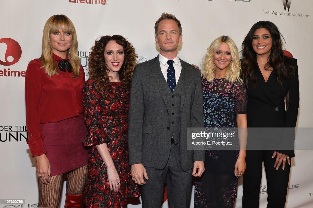 Model Heidi Klum stylist Jen Rade actor Neil Patrick Harris fashion editor Zana Roberts Rassi and designer Rachel Roy attend the 'Under The Gunn'...