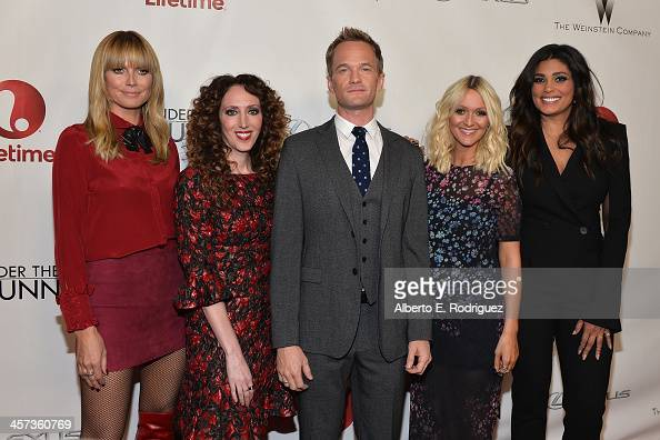Model Heidi Klum stylist Jen Rade actor Neil Patrick Harris fashion editor Zana Roberts Rassi and designer Rachel Roy attend the 'Under The Gunn'...