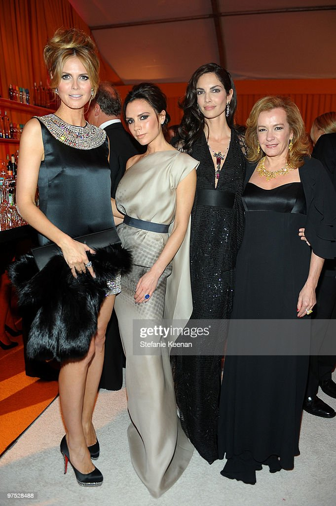 Model Heidi Klum, Victoria Beckham, Eugenia Silva and Co-President of Chopard Caroline Gruosi-Scheufele, wearing Chopard, attend the 18th Annual Elton John AIDS Foundation Oscar Party at Pacific Design Center on March 7, 2010 in West Hollywood, California.