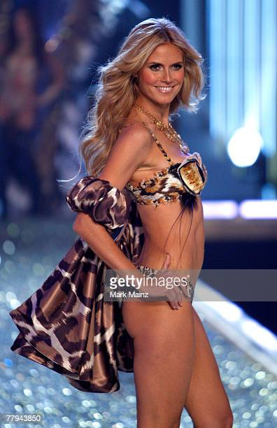 Model Heidi Klum walks the runway at the 2007 Victoria's Secret fashion show held at the Kodak Theatre on November 15 2007 in Hollywood California...