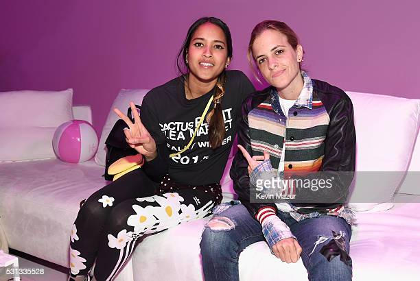 Model Helen Lasichanh and DJ Samantha Ronson attend adidas Originals Pink Beach Pharrell Williams party on May 13 2016 in West Hollywood California