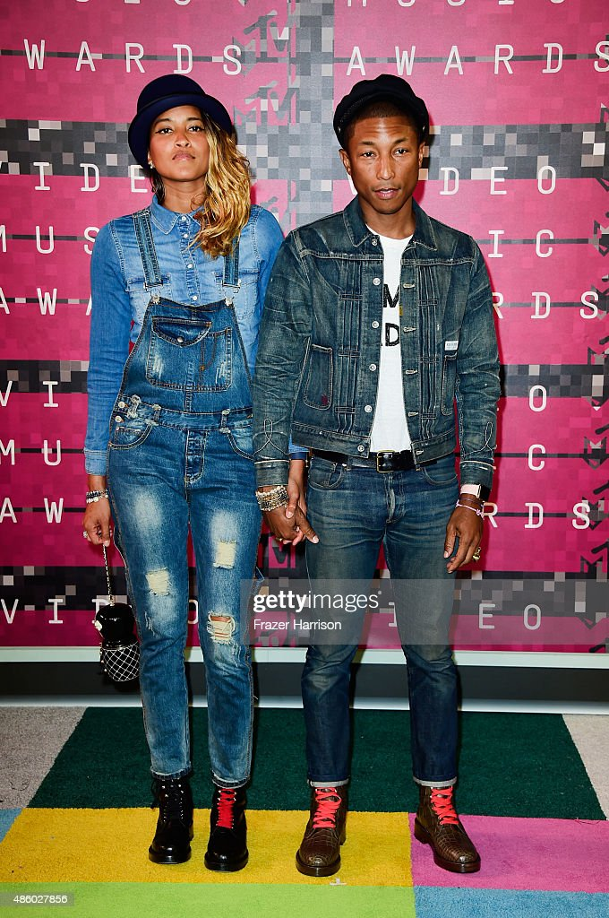 Model Helen Lasichanh and recording artist Pharrell Williams attend the 2015 MTV Video Music Awards at Microsoft Theater on August 30 2015 in Los...