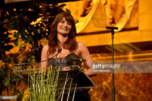 Model Helena Christensen speaks onstage at Variety Power Of Women New York presented by FYI at Cipriani 42nd Street on April 25 2014 in New York City