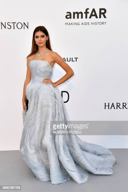 Model Helena Gatsby poses as she arrives for the amfAR's 24th Cinema Against AIDS Gala on May 25 2017 at the Hotel du CapEdenRoc in Cap d'Antibes...