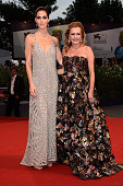 Model Hilary Rhoda and Chopard CoPresident and Artistic Director Caroline Scheufele attend the premiere of 'Spotlight' during the 72nd Venice Film...