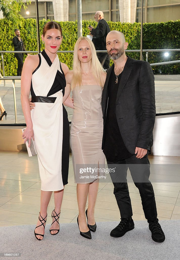 Model Hilary Rhoda and designers Nicole Colovos and Michael Colovos attend the 2013 CFDA Fashion Awards on June 3, 2013 in New York, United States.