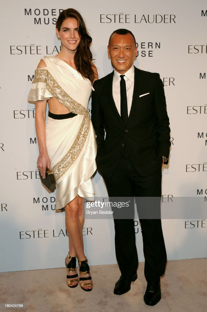 Model Hilary Rhoda and Elle creative director Joe Zee attend the Estee Lauder 'Modern Muse' Fragrance Launch Party at the Guggenheim Museum on September 12, 2013 in New York City.