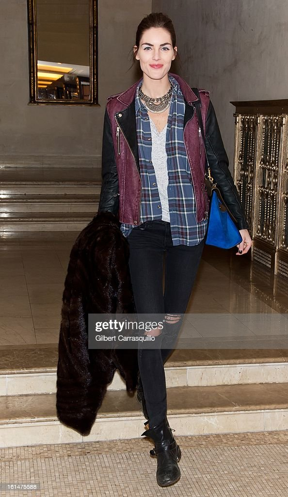Model Hilary Rhoda arrives at the Zac Posen Fall 2013 Mercedes-Benz Fashion Show at The Plaza Hotel on February 10, 2013 in New York City.