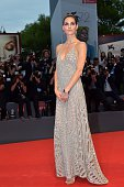 Model Hilary Rhoda arrives for the screening of the movie 'Spotlight' presented out of competition at the 72nd Venice International Film Festival on...