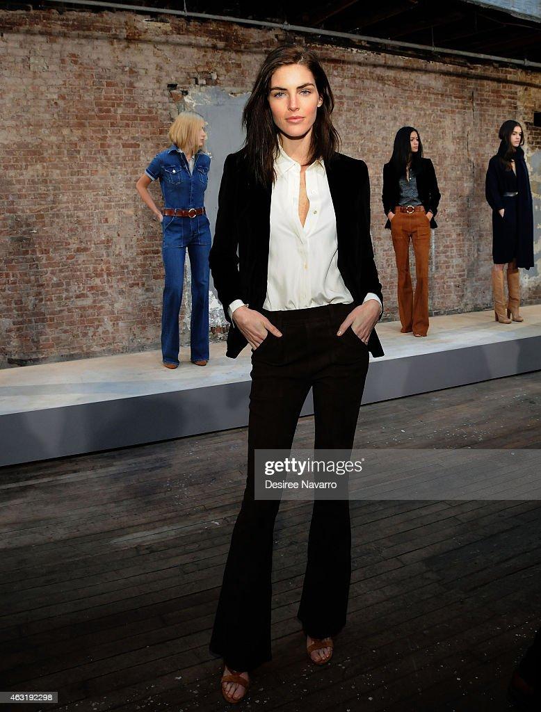 Model Hilary Rhoda attends FRAME Denim Presentation MercedesBenz Fashion Week Fall 2015 on February 11 2015 in New York City