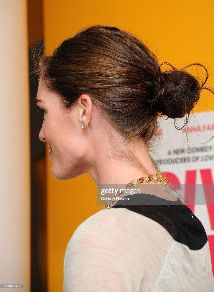 Model Hilary Rhoda (hairstyle detail) attends the 'I Give It A Year' New York Screening at the Crosby Street Theater on July 30, 2013 in New York City.