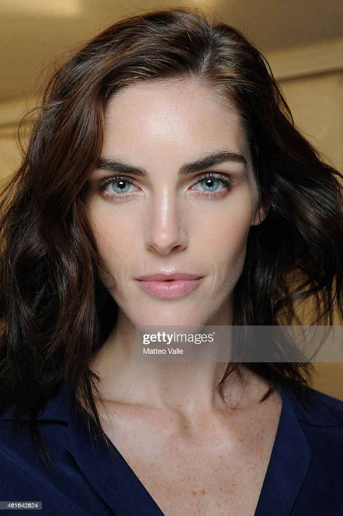 Model <a gi-track='captionPersonalityLinkClicked' href=/galleries/search?phrase=Hilary+Rhoda&family=editorial&specificpeople=637945 ng-click='$event.stopPropagation()'>Hilary Rhoda</a> backstage ahead of the Dsquared2 Show during the Milan Menswear Fashion Week Fall Winter 2015/2016 on January 16, 2015 in Milan, Italy.