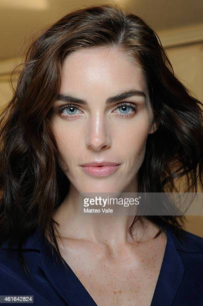 Model Hilary Rhoda backstage ahead of the Dsquared2 Show during the Milan Menswear Fashion Week Fall Winter 2015/2016 on January 16 2015 in Milan...