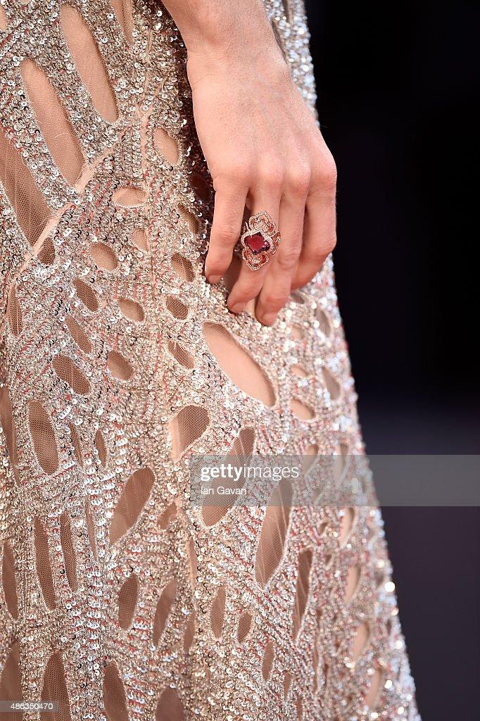 Model Hilary Rhoda bracelet detail attends a premiere for 'Spotlight' during the 72nd Venice Film Festival at Sala Grande on September 3 2015 in...