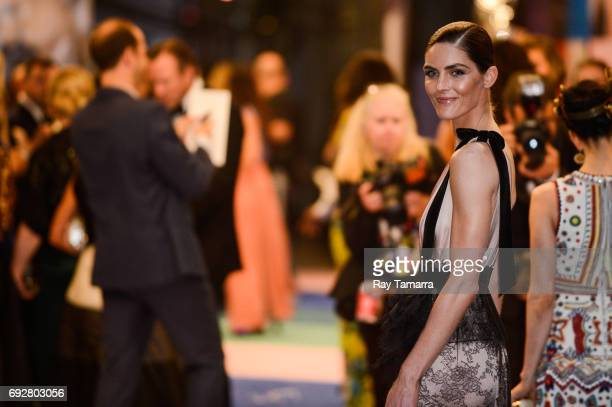 Model Hilary Rhoda enters the CFDA Fashion Awards at Hammerstein Ballroom on June 5 2017 in New York City