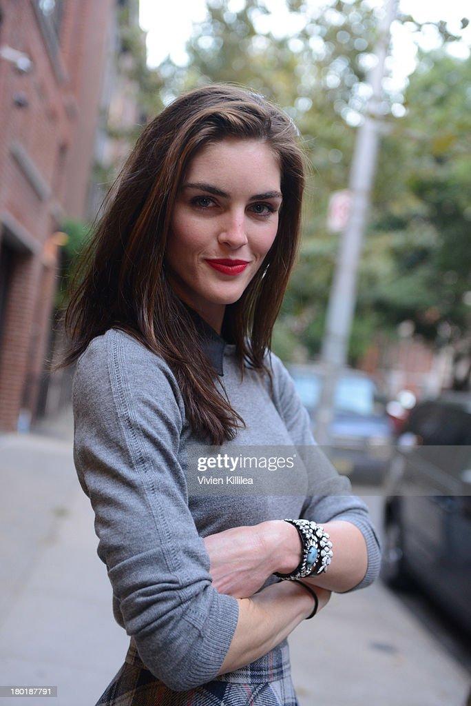 Model Hilary Rhoda is seen outside the Dannijo presentation during MercedesBenz Fashion Week Spring 2014 at Industria Studios on September 9 2013 in...