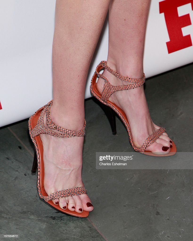 Model Hilary Rhoda' shoes at the 2012 Footwear News Achievement awards at The Museum of Modern Art on November 27, 2012 in New York City.