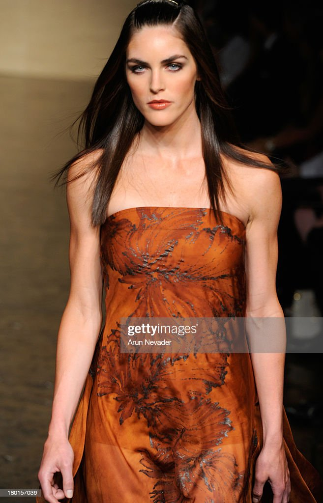 Model Hilary Rhoda the runway at the Donna Karan New York fashion show during Mercedes-Benz Fashion Week Spring 2014 on September 9, 2013 in New York City.