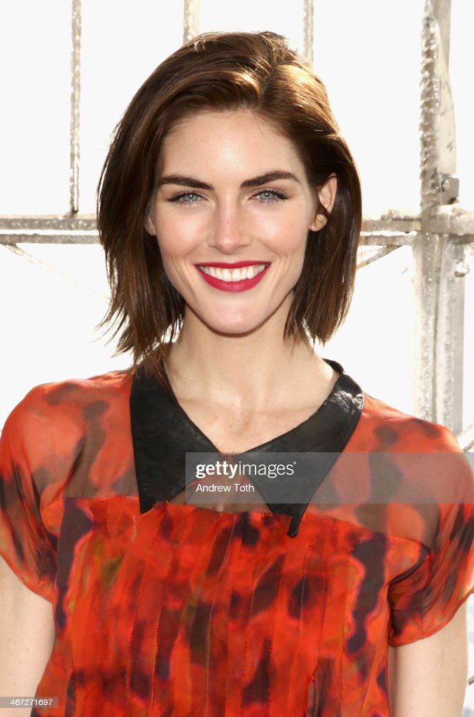 Model Hilary Rhoda visits the Empire State Building which will be lit red in honor of American Heart Month and National Wear Red Day at The Empire...