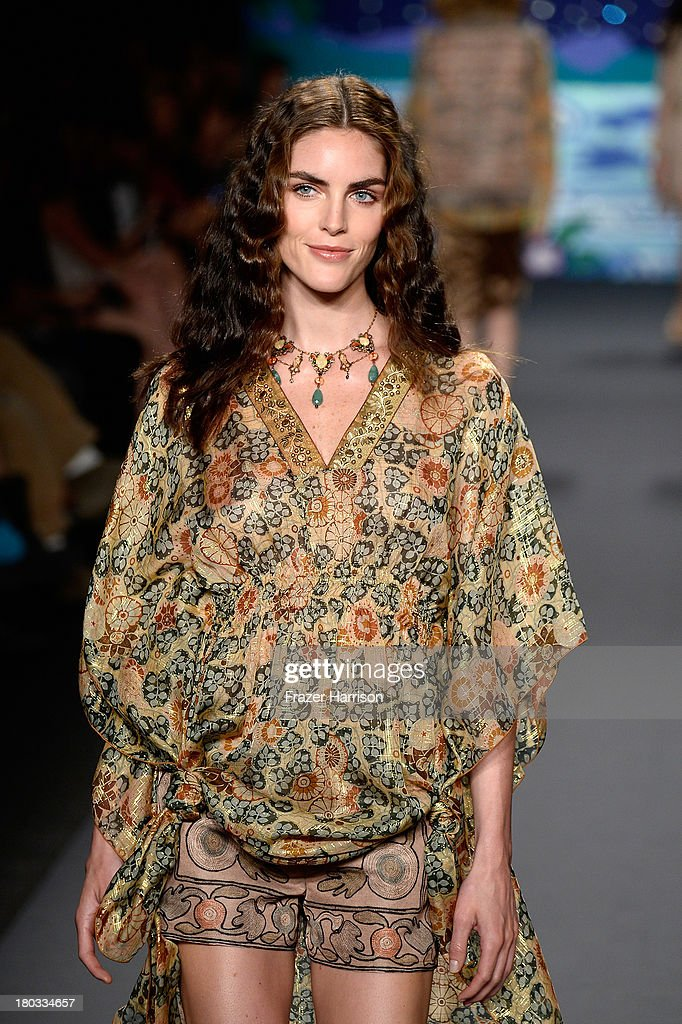 Model Hilary Rhoda walks the runway at the Anna Sui fashion show during Mercedes-Benz Fashion Week Spring 2014 at The Theatre at Lincoln Center on September 11, 2013 in New York City.