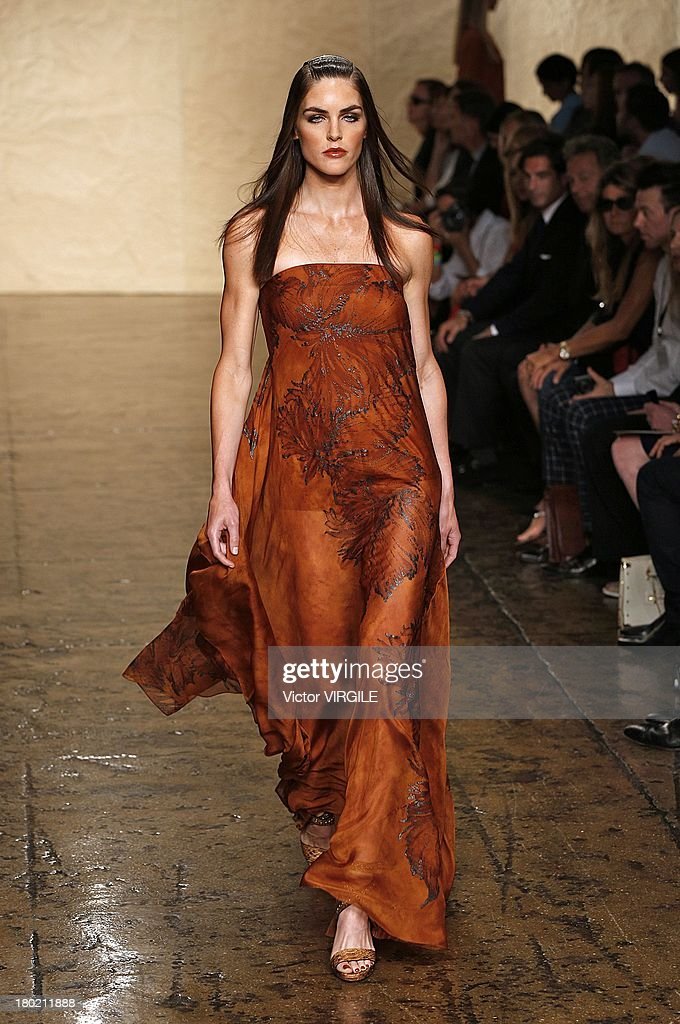 Model Hilary Rhoda walks the runway at the Donna Karan New York Ready to Wear fashion show during Mercedes-Benz Fashion Week Spring Summer 2014 on September 9, 2013 in New York City.