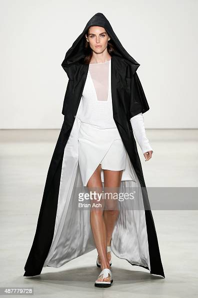 Model Hilary Rhoda walks the runway at the Karigam fashion show during Spring 2016 New York Fashion Week The Shows at The Gallery Skylight at...