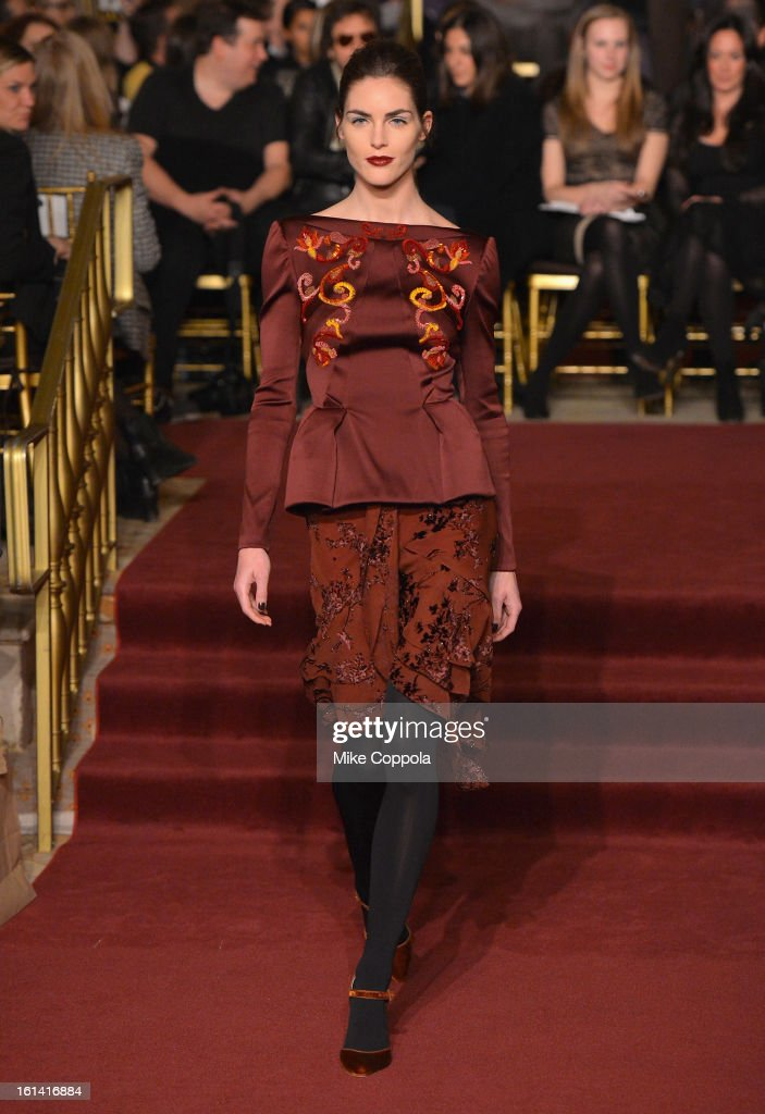 Model <a gi-track='captionPersonalityLinkClicked' href=/galleries/search?phrase=Hilary+Rhoda&family=editorial&specificpeople=637945 ng-click='$event.stopPropagation()'>Hilary Rhoda</a> walks the runway at the Zac Posen Fall 2013 fashion show during Mercedes-Benz Fashion Week on February 10, 2013 in New York City.
