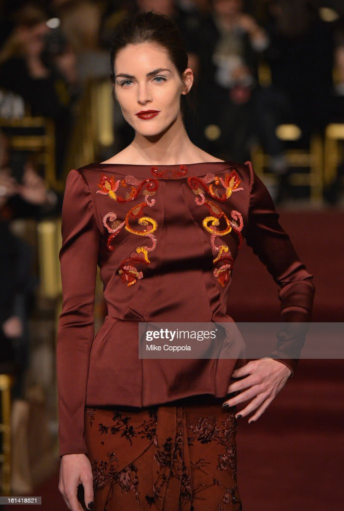 Model Hilary Rhoda walks the runway at the Zac Posen Fall 2013 fashion show during Mercedes-Benz Fashion Week on February 10, 2013 in New York City.