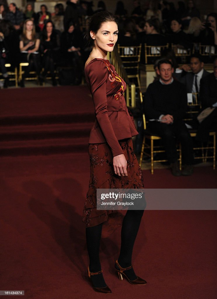 Model Hilary Rhoda walks the runway at the Zac Posen Fall 2013 Mercedes-Benz Fashion Show at The Plaza Hotel on February 10, 2013 in New York City.