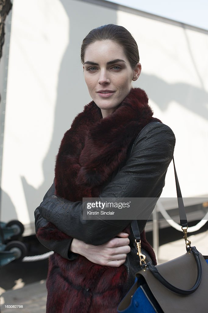 Model Hillary Rhoda wears a Celine bag, Tabitha Simmons shoes and a Helmut Lang jacket on day 4 of Paris Womens Fashion Week Autumn/Winter 2013 on March 03, 2013 in Paris, France.