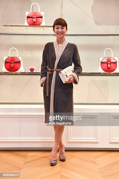 Model Hiroko Hatano attends the Delvaux Red Moon Party at Delvaux Omotesando on November 7 2014 in Tokyo Japan