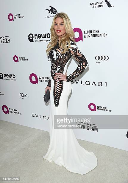Model Hofit Golan attends Bulgari at the 24th Annual Elton John AIDS Foundation's Oscar Viewing Party at The City of West Hollywood Park on February...