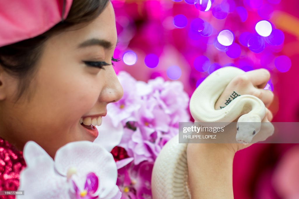 A model holds a snake during a snake display to promote responsible breeding and pet ownership in Kong Kong on January 10, 2013. The Chinese new year, often referred to as the 'Lunar New Year', will mark the year of the snake on February 10. AFP PHOTO / Philippe Lopez
