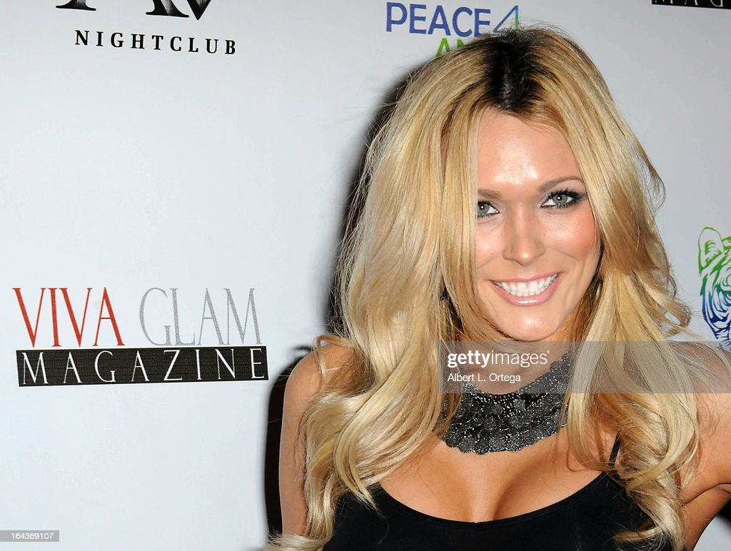 Model Holly Dorough arrives for the Celebration of the Viva Glam Magazine Launch April Issue featuring Katie Cleary to benefit Animals 4 Peace at AV on March 22, 2013 in Hollywood, California.