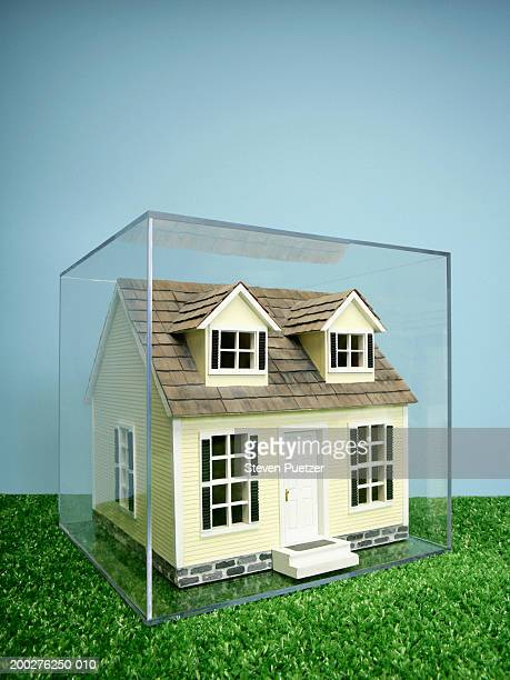 Model home enclosed in plastic box