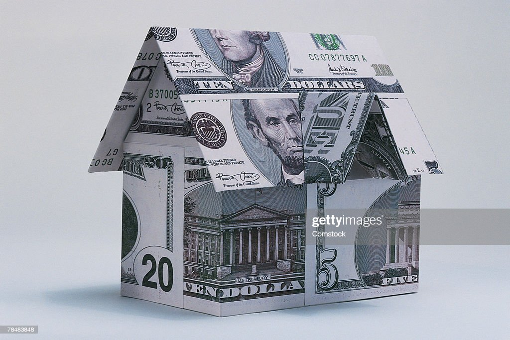 Model home made of money : Stock Photo