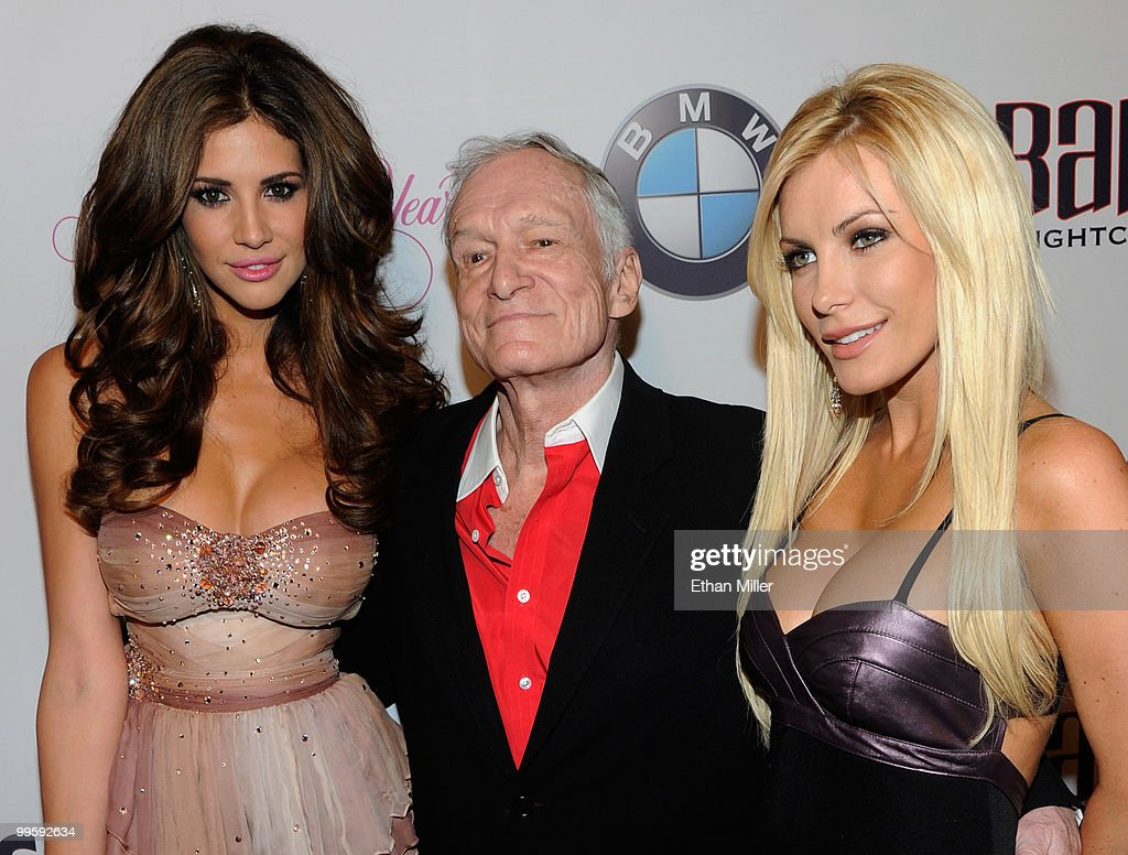 Model Hope Dworaczyk, Playboy founder <a gi-track='captionPersonalityLinkClicked' href=/galleries/search?phrase=Hugh+Hefner&family=editorial&specificpeople=202106 ng-click='$event.stopPropagation()'>Hugh Hefner</a> and his girlfriend, December 2009 Playboy Playmate of the Month Crystal Harris, arrive at a party introducing Dworaczyk as the 2010 Playboy Playmate of the Year at the Rain Nightclub inside the Palms Casino Resort May 15, 2010 in Las Vegas, Nevada.