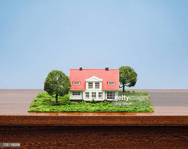 A model house on a cabinet