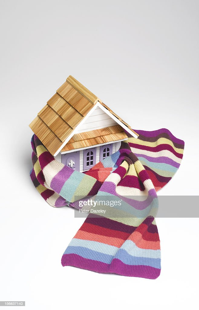 Model house wrapped in a scarf : Stock Photo