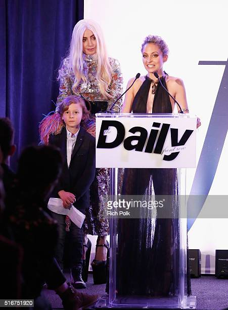 COVERAGE Model Hudson Kroenig accepts the FLA Fashion Icon on behalf of designer Karl Lagerfeld from presenters Lady Gaga and Nicole Richie onstage...
