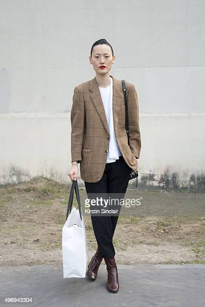 Model Hyeseung Lee on day 6 during Paris Fashion Week Spring/Summer 2016/17 on October 4 2015 in Paris France