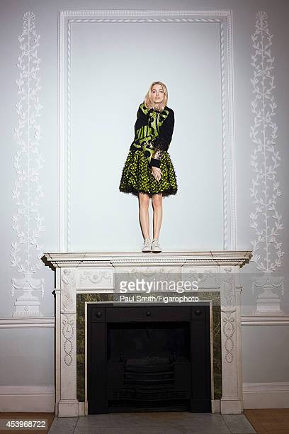 109772021 Model Idina Moncreiffe is photographed for Madame Figaro on April 28 2014 in London England Sweater and skirt sneakers PUBLISHED IMAGE...