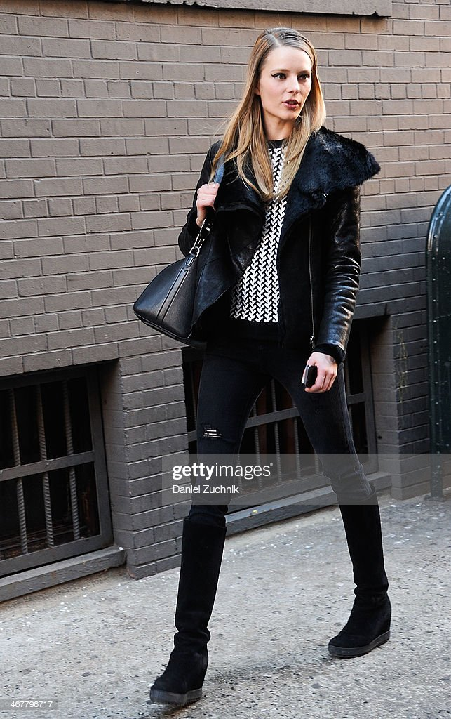 Model Ieva Laguna is seen outside the Cushnie et Ochs show wearing a Helmut Lang jacket, Prada boots and Jimmy Choo bag on February 7, 2014 in New York City.