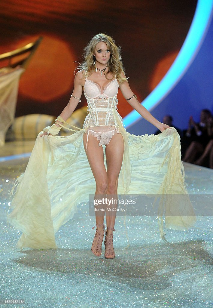 Model Ieva Laguna walks the runway at the 2013 Victoria's Secret Fashion Show at Lexington Avenue Armory on November 13, 2013 in New York City.