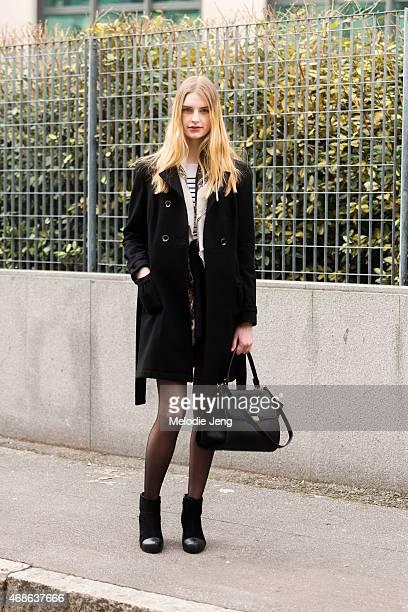 Model Ieva Palionyte exits the Bottega Veneta show on Day 4 of Milan Fashion Week FW15 on February 28 2015 in Milan Italy