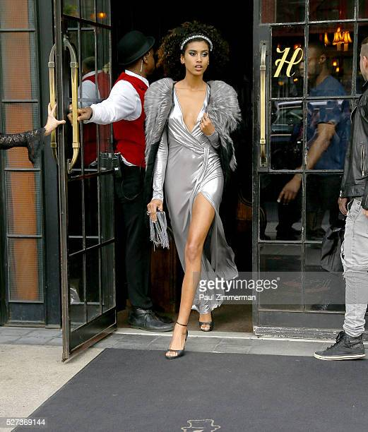 Model Imaan Hammam is seen departing the Bowery Hotel on May 2 2016 in New York City