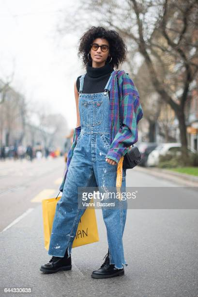 Model Imaan Hammam poses after the Fendi show during Milan Fashion Week Fall/Winter 2017/18 on February 23 2017 in Milan Italy